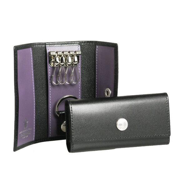 エッティンガー ETTINGER キーケース ロイヤルコレクション ブラック KEY CASE WITH 4 HOCKS ST840AJR BLACK/PURPLE PURPLE/STERLING COLLECTION【英国】