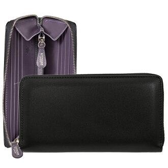 Ettinger ETTINGER wallet men round fastener long wallet (with a coin purse) black / purple LARGE ZIP AROUND PURSE ST2051EJR PURPLE