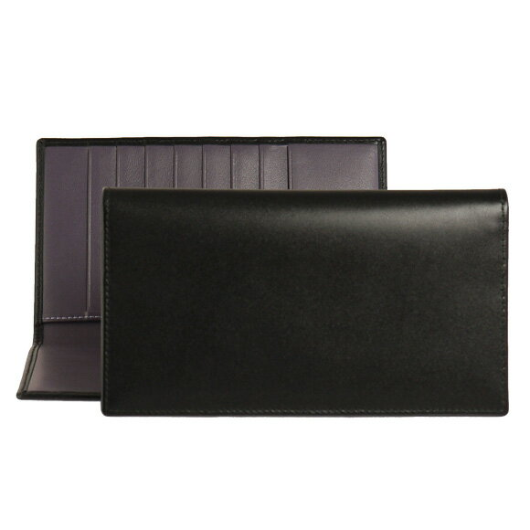 エッティンガー ETTINGER 財布 メンズ 長財布 ブラック COAT WALLET WITH 8 C/C ST806AJR BLACK/PURPLE PURPLE/STERLING COLLECTION【英国】