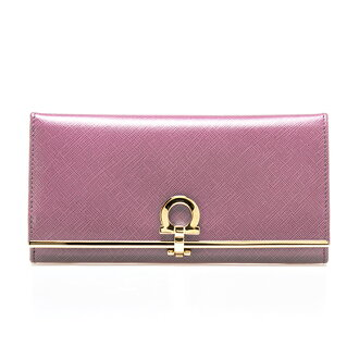 Salvatore Ferragamo SALVATORE FERRAGAMO Lady's long wallet GANCINI ICONA mauve pink 224633/54 0674979 MAUVE