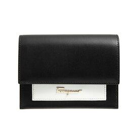 サルヴァトーレフェラガモ SALVATORE FERRAGAMO 財布 レディース 二つ折り財布 ブラック×ホワイト 22D583 0704595 NERO