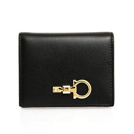 サルヴァトーレフェラガモ SALVATORE FERRAGAMO 財布 レディース 二つ折り財布 ブラック FERRAGAMO STUDIO SMALL WALLET 22E032 0734429 BLACK【ミニ財布】