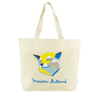 Maison fox MAISON KITSUNE tote bag A4 TOTE BAG FOX INES LONGEVIAL off-white X multicolored U828 EC MU ECRU/MULTICOLOURED