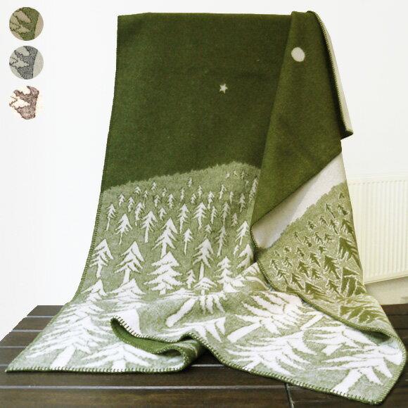 クリッパン KLIPPAN ウールブランケット ひざ掛け HOUSE IN THE FOREST 2251 [全2色] 01 GREY/ 02 GREEN