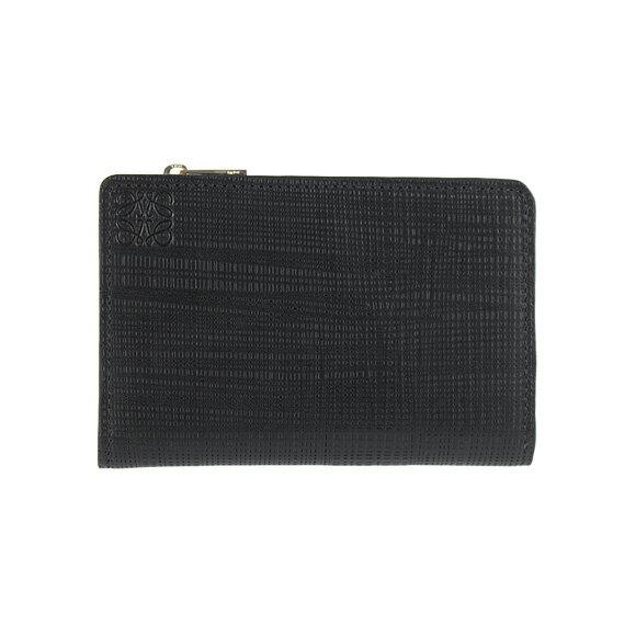 【全品ポイント3倍】 ロエベ LOEWE 財布 レディース 二つ折り財布 LINEN SMALL ZIP WALLET [リネン スモールジップウォレット] ブラック 黒 101 88 P30 1100 BLACK