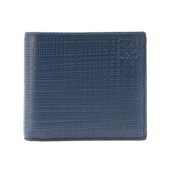 【全品ポイント3倍】 ロエベ LOEWE 財布 メンズ 二つ折り財布(小銭入れ付) LINEN BIFOLD/COIN WALLET [リネン ビルフォールド/コインウォレット] ネイビーブルー 101 88 501 5110 NAVY BLUE