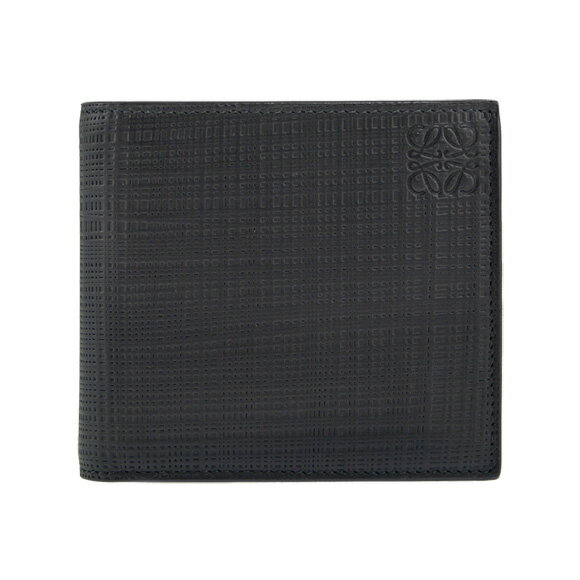 【全品ポイント3倍】 ロエベ LOEWE 財布 メンズ二つ折り財布(小銭入れ付) LINEN BIFOLD/COIN WALLET [リネン ビルフォールド/コインウォレット] ブラック 黒 101 88 501 1100 BLACK