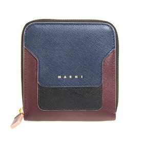 マルニ MARNI 財布 レディース ラウンドファスナー二つ折り財布 ネイビー×ダークパープル×ブラック VANITOSI PFMOQ09U11 LV520 Z243C NAVY×DARKPURPLE×BLACK