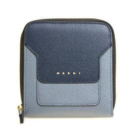マルニ MARNI 財布 レディース ラウンドファスナー二つ折り財布 ナイトブルー×スカイブルーグレー PFMOQ09U08 LV520 Z256N NIGHT BLUE/SKY/BLACK