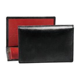 ホワイトハウスコックス WHITEHOUSE COX メンズ 名刺入れ(カードケース) ブラック/レッド NAME CARD CASE BRIDLE 2TONE S7412 BLACK/RED【英国】
