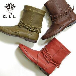 C.I.L シーアイエル 三つ編みベルト ショートブーツ 全2色 109C4012 (130918)