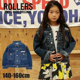 【2020春夏セール】ROLLERS DENIM JACKET No.NT09-BJ-614j ローラーズ(子供服 キッズ 日本製 MADE IN JAPAN ストリート系 カッコイイ 女の子 男の子 黒 青 デニム )