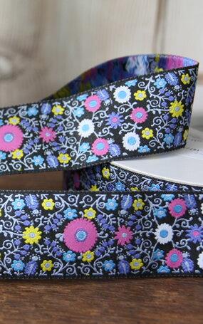 【ジャガードリボン】(30cm単位)濃紺アラベスク調花柄/USA製刺繍リボン/チロリアンテープ/チロルテープ 幅38mm usa-k32