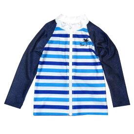 ラッシュガード B de R ビーデアール マルチボーダー UVカット 子供服 キッズ 男児用 男の子 1974-13050 青 ブルー