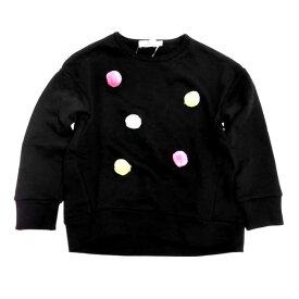 SLAP SLIP スラップスリップ トレーナー ボンテン付き 裏毛 子供服 キッズ 女児用 女の子 1807-98047 黒 ブラック