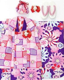 【Fashion the Sale 限定 20%オフ】【USED販売】七五三 3歳 女の子 被布セット JAPAN STYLE☆3才 女児被布7点セット(着物・被布・被布飾り・髪飾り・襦袢・バッグ・草履)