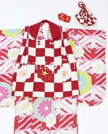 【Fashion the Sale 限定 20%オフ】【USED販売】七五三 3歳 女の子 JAPAN STYLE☆3才 女児被布6点セット(着物・被布・被布飾り・襦袢・バッグ・髪飾り)