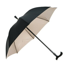 敬老の日に 傘 ウォーターフロントWaterfront ステッキ傘 男性/女性 晴雨兼用傘/雨傘/日傘 表黒色/裏ゴールドコーティング 親骨60cm長傘 STC-1L60-UH-1T