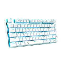e元素ゲーミングキーボード メカニカル式キーボード USB接続有線青軸81キーアンチゴーストキー 青色LEDバックライト 防水機能付きゲーマー向け英語配列キーボード (ホワイト)