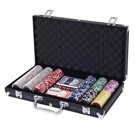 Costway ポーカーチップ チップ 300枚 ポーカーセット カジノチップ トランプ付き ブラック