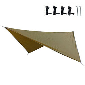 TRIWONDER タープ 天幕 シェード 防水軽量 ティピー グランドシート キャンプ テント ピクニック マット シート フライシート サンシェルター 収納袋付き (ブラウン+アクセサリー)