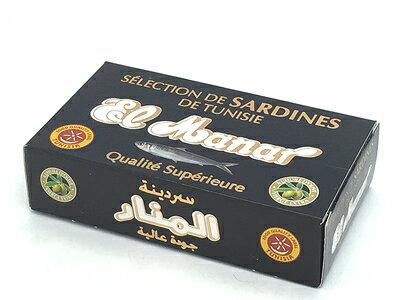 チュニジア産 エクストラ バージン オリーヴオイルサーディン 缶詰(紙箱入り)(いわしのエクストラ バージンオリーブオイル漬)Oil Sardine in Extra Virgin Olive Oil 125g (El Manar, Tunisia)