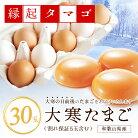 大寒 たまご 30玉 (破損保証5玉含)【縁起タマゴ】食べ比べ優勝の卵使用 紀州うめたまご 太…