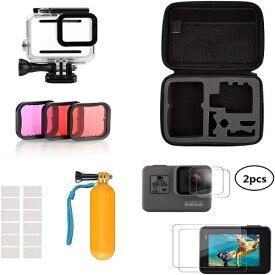 ダイビングアクセサリーキット (GoPro Hero5用・GoPro Hero6用・GoPro Hero7用) 収納ケース+防水ハウジング+フイルター+レンズフィルターキット+フロートグリップ+曇り止めシート 水中撮影用 潜水用 Taisioner