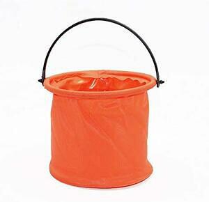 畳みバケツ 折りたたみバケツ 取っ手付き キャンプ 釣り 洗濯 コンパクト 持ち運び 軽量 丈夫 便利 ソフト サイズ約14×14cm オレンジ