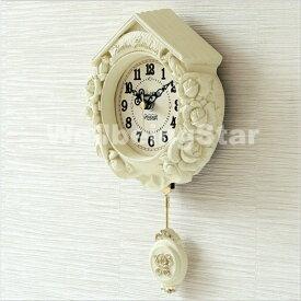 掛け時計 ティーニーローズホワイト 振り子時計 壁掛け時計 おしゃれ 掛時計 北欧 時計 インテリア 振り子時計