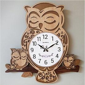 電波掛け時計 ハンドメイド木製電波掛け時計フクロウ家族 壁掛け時計 おしゃれ 掛時計 北欧 時計 インテリア 韓国 インテリア