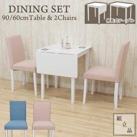 ダイニングテーブルセット3点 伸縮式 お客様組立品 バタフライ 幅90cm pt90bata-3-rusi342 ダイニングセット パステルカラー ホワイト ピンク ブルー 白 2人用 2人掛け 3点セット コンパクト リビング チェア 椅子 イス テーブル 伸長 カフェ風 シンプル かわいい 6s-2k hg