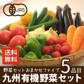有機野菜セット おまかせ5品目 九州産 鹿児島県 有機栽培 有機JAS 冷蔵便 オーガニック 無農薬 西日本 お試し 送料無料
