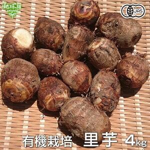 里芋 4kg 有機栽培 鹿児島県産 土付き さといも サトイモ 里いも オーガニック 無農薬 送料無料 冷蔵便 国産