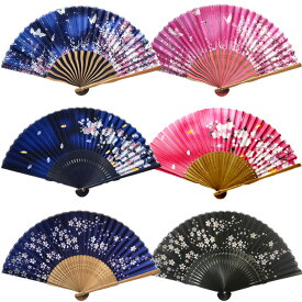 扇子 女性用 シルク 桜 さくら 紺 緑 白 ピンク ブルーギフトプレゼント