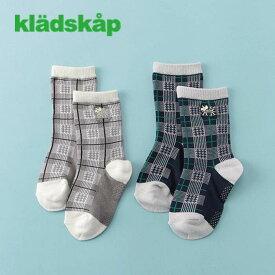 kladskap(クレードスコープ)化石チェッククルーソックス-3417【11cm〜20cm】【メール便OK】