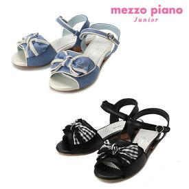 (SALE 20%OFF)mezzopiano junior(メゾピアノジュニア)結びリボンアンクルストラップサンダル-1439【22cm〜24cm】【宅配便】