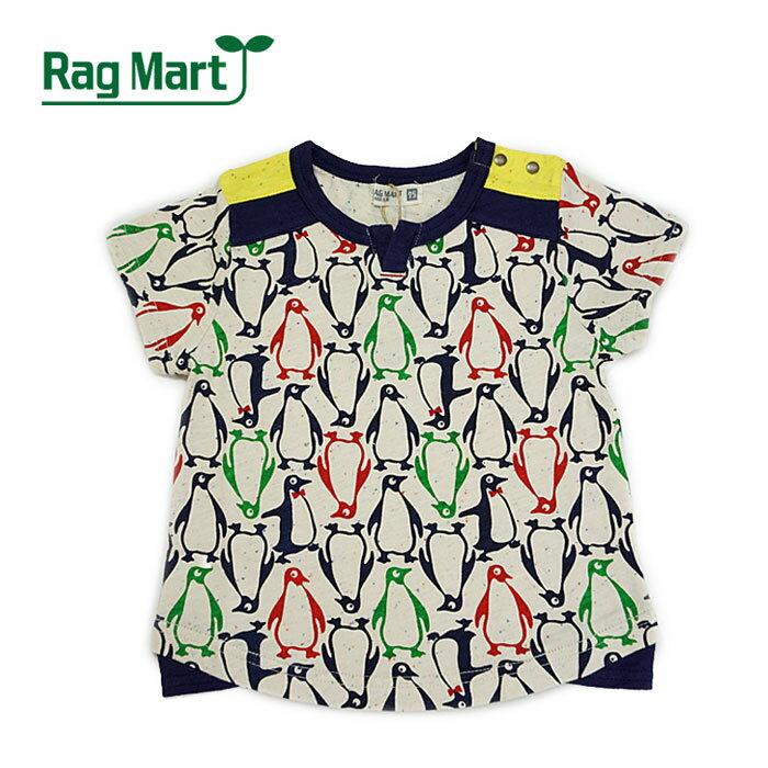 【夏】Rag Mart(ラグマート) ペンギン総柄半袖Tシャツ-2604【100cm|110cm|120cm|130cm】【メール便OK】