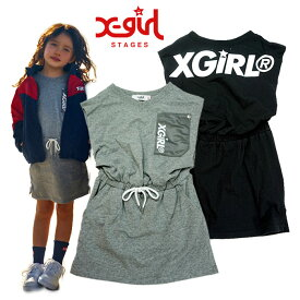 (30%OFF SALE)X-girl Stages(エックスガールステージス) ポケットロゴミニ袖ワンピース-1316【90cm|100cm|110cm|120cm|130cm|140cm】【宅配便】