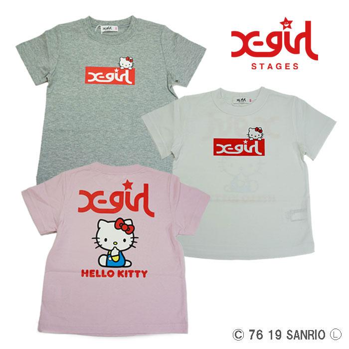 【夏】X-girl Stages(エックスガールステージス) キティコラボ半袖Tシャツ-2217【90cm|100cm|110cm|120cm|130cm|140cm】【メール便OK】