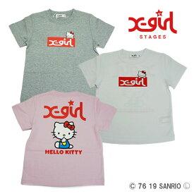 (30%OFF SALE)【夏】X-girl Stages(エックスガールステージス) キティコラボ半袖Tシャツ-2217【90cm|100cm|110cm|120cm|130cm|140cm】【メール便OK】