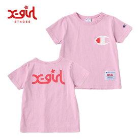 (30%OFF SALE)X-girl Stages(エックスガールステージス) Championコラボ Tシャツ-1218【90cm 100cm 110cm 120cm 130cm】【メール便OK】