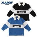 XLARGE KIDS(エクストララージ キッズ) 衿つきハーフジップラガーTシャツ-3202【110cm|120cm|130cm|140cm】【メール便…