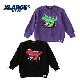 (SALE 30%OFF)XLARGE KIDS(エクストララージ キッズ)裏毛 恐竜プリントトレーナー-3216(クロ・パープル)【90cm|100cm|110cm|120cm|130cm】【宅配便】