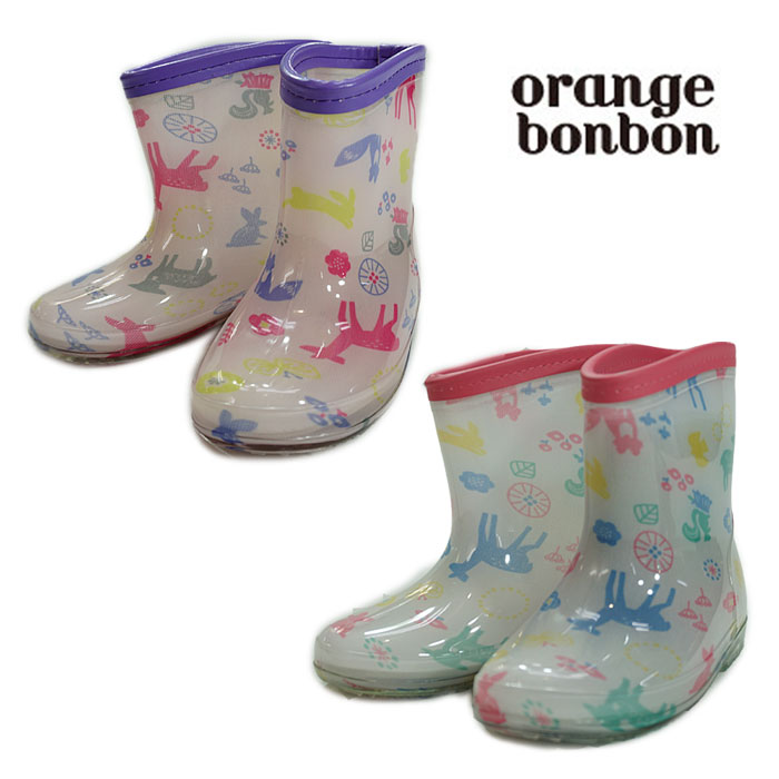 オレンジボンボン(orange bonbon)ファニーアニマル柄レインシューズ-1503【16cm〜19cm】【宅配便】