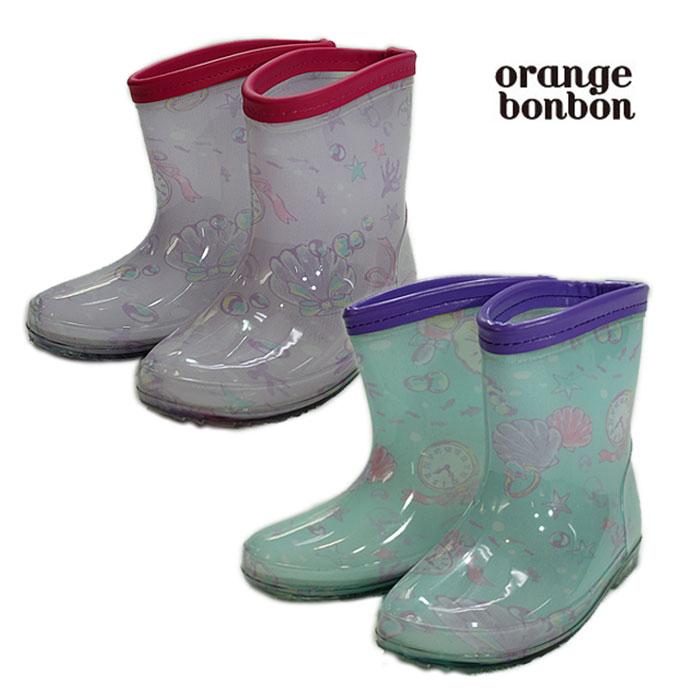 オレンジボンボン(orange bonbon)海のお姫さま柄レインシューズ-1505【14cm〜19cm】【宅配便】