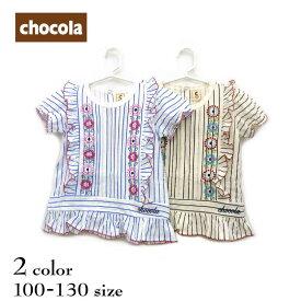 chocola(ショコラ)お花刺繍チュニック半袖Tシャツ【メール便可能】
