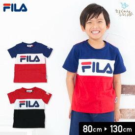 0f6609cd6232b フィラ FILA ベビー キッズ 子供服 ベビー服 半袖 Tシャツ ロゴ 3段切替 天竺 男の子