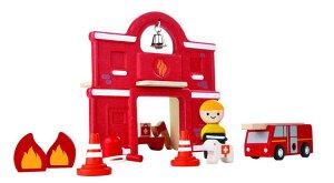 木のおもちゃ 知育玩具 3歳 4歳 5歳 ファイヤーステーションプラントイ おもちゃ おもちゃの消防署 消防署おもちゃ消防車 乗り物 くるま キッズおもちゃ キッズ こども 子供 子ども オモチャ
