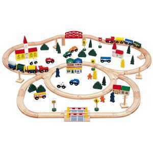 木製玩具 おもちゃ 知育玩具 3歳から 街と鉄道あそび デラックス(100ピース)玩具 鉄道おもちゃ 鉄道遊び 鉄道玩具 電車 レール 木 木製 木製レール 街 町 街づくり こども 子供 子ども キッ